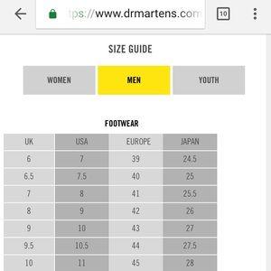 Doc Marten Youth Size Chart Dr Martens Shoes Dr Doc Martens Uk Sz